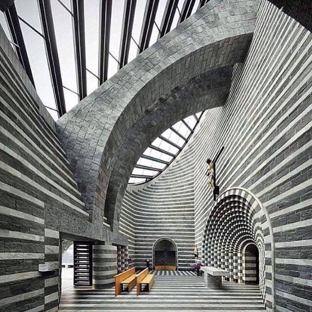 Mario Botta, Church of San Giovanni Battista, Mogno, Svizzera, 1996 cosa contemporary sacred art