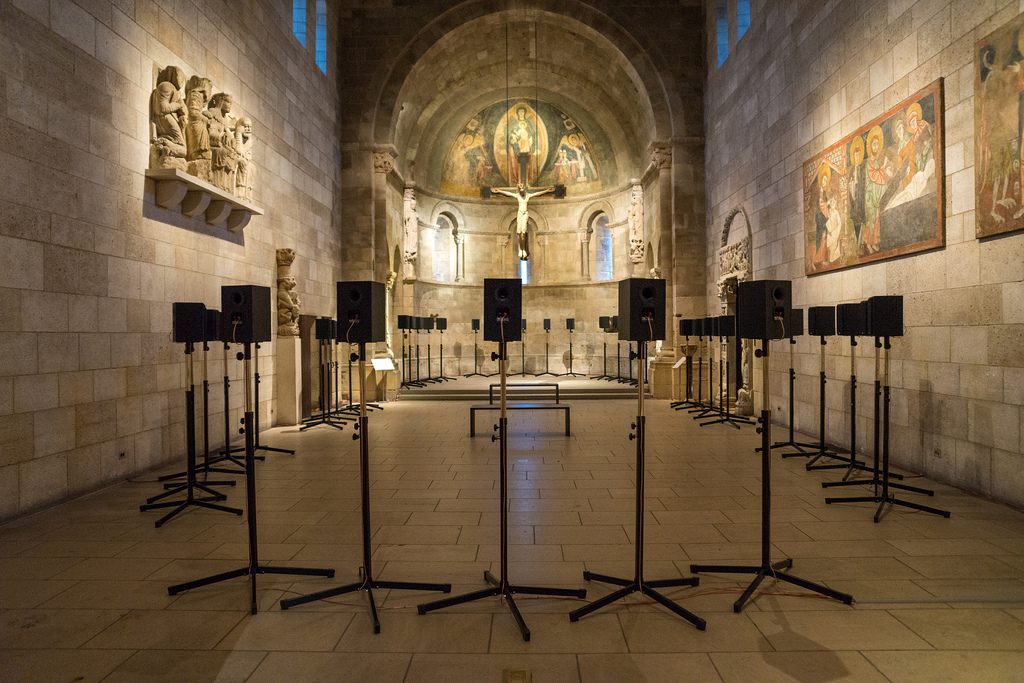 Janet Cardiff, Forty Part Motet, 2001, installation in Fuentiduena Chapel at The Cloisters